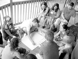 Antiwar organizers and veterans strategizing at a gathering convened by smartMeme at the Highlander Center in Tennesse, 2006.