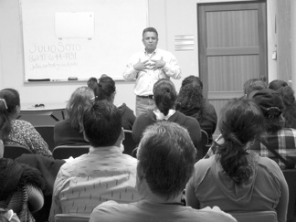 Project YANO's outreach to Latino communities includes counter-recruitment workshops for parents conducted in Spanish.