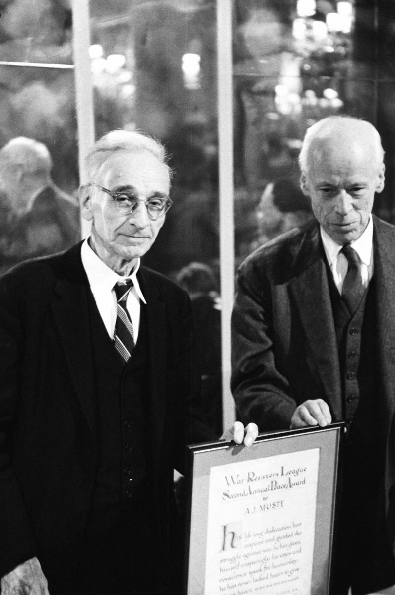 A.J. Muste and Norman Thomas, six-time Socialist Party presidential candidate, posing with Muste's Peace Award.