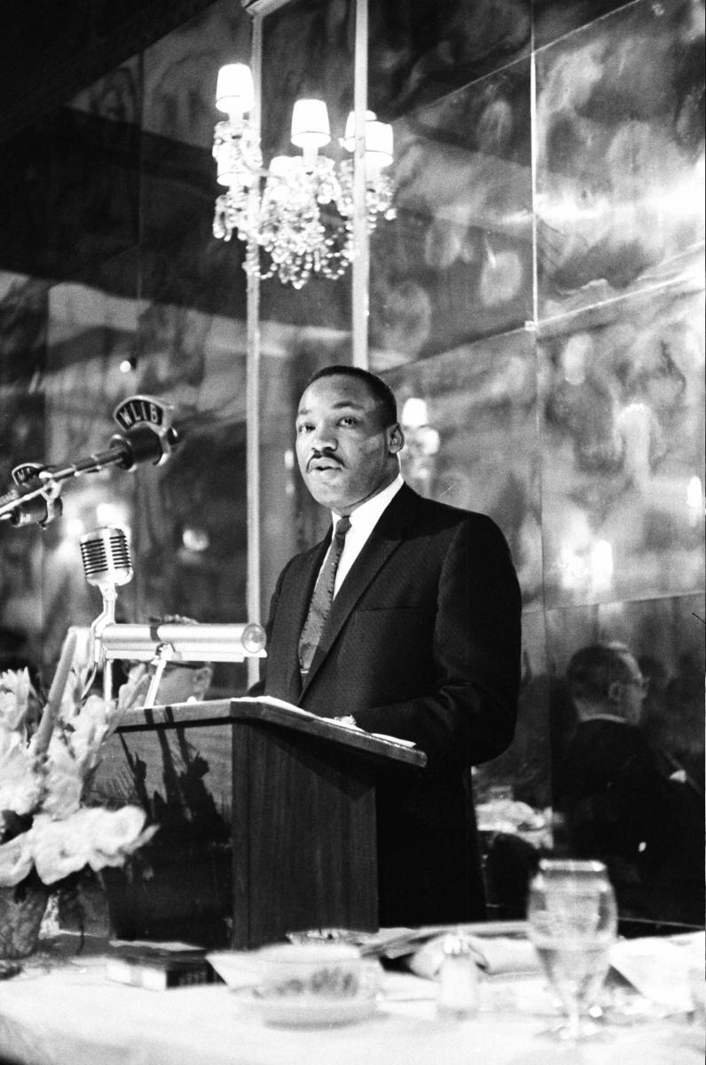 Martin Luther King Jr giving the award ceremony speech.