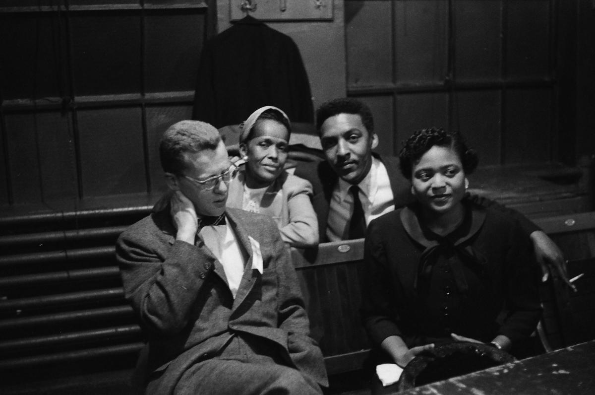 Future Pulitzer Prize-winning journalist Murray Kempton, Ella Baker, Bayard Rustin, Autherine Lucy.  This is one of the only known photographs of Baker and Rustin togehter, the key behind-the-scenes activists of the Student Nonviolent Coordinating Committee and the Southern Christian Leadership Conference, respectively.