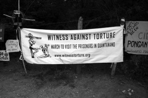 Banner: Witness Against Torture March to Visit the Prisoners in Guantánamo