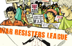 War Resisters League Banner, graphic by Cristy Roads