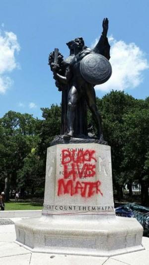 Black Lives Matter on Statue