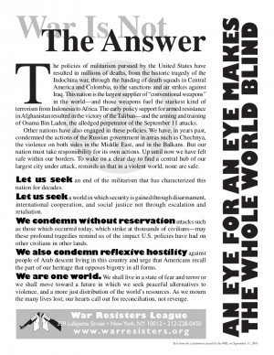 """Flyer release by WRL September 2001 that says """"War Is Not The Answer: An Eye for An Eye Makes the Whole World Blind"""""""