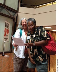 Joanne Sheehan and Mandy Carter at WRL's 90th Anniversary conference. Photo by Linda Thurston.