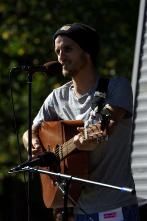 Ryan Harvey performs at an antiwar rally in Boston in 2008.