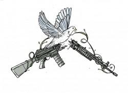 WRL Broken Rifle with Dove logo, Cristy Roads