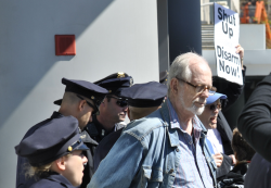 "David McReynolds under arrest at ""Shadows and Ashes"" Direct Action for Nuclear Disarmament, New York City, April 28, 2015. Photo by Felton Davis"