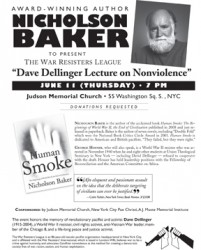 "Nicholson Baker to Give the War Resisters League's ""Dave Dellinger Lecture on Nonviolence"""
