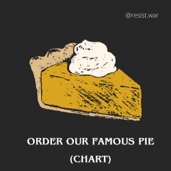 Image of pumpkin pie with whipped cream. Text says: Order our famous pie chart