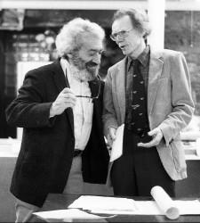 Ralph DiGia with WRL Peace Award recipient Larry Gara, May 6, 1984. Photo by David McReynolds.
