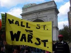 Wall Street = War banner